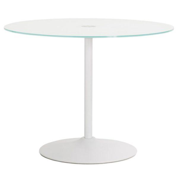 Table à dîner ronde ´TROBO´ blanche en verre – Ø 100 cm