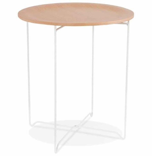Table d´appoint design ´TSUNAMI´ blanc en bois et métal