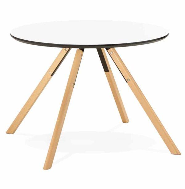 Table de cuisine ronde ´BALKAN´ blanche style scandinave – Ø 100 cm