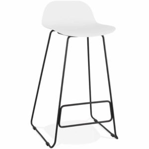 Tabouret de bar design ´BABYLOS´ blanc avec pieds en métal noir 300x300 - Tabouret de bar design ´BABYLOS´ blanc avec pieds en métal noir
