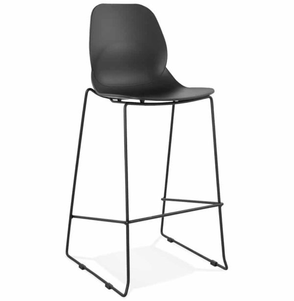 Tabouret de bar design ´BERLIN´ noir empilable style industriel
