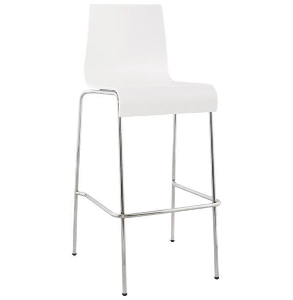 Tabouret haut ´KWATRO´ empilable en bois blanc sur 4 pieds