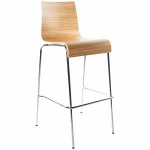 Tabouret haut ´KWATRO´ empilable en bois finition Zebrano sur 4 pieds