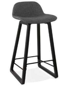 Tabouret snack mi-hauteur ´BALTIK MINI´ en tissu gris et pieds en bois noir