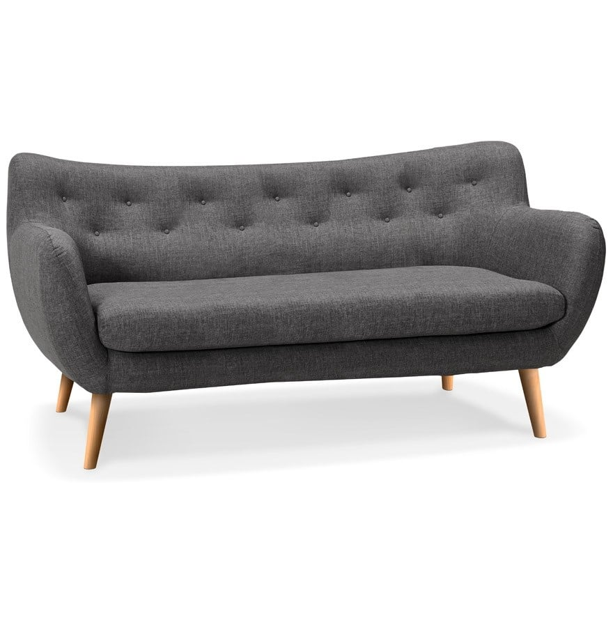 canape 3 places sur pieds en bois gris design