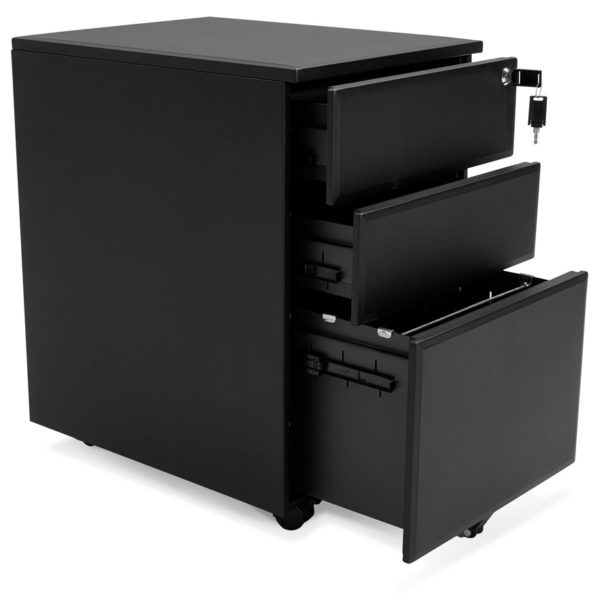Caisson-de-rangement-´DALI´-noir-à-tiroirs-pour-bureau-2
