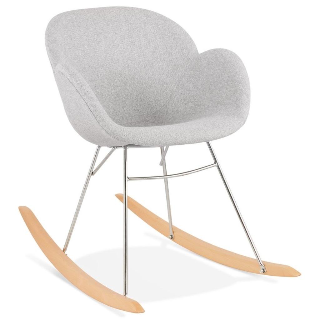 Chaise à bascule design ´ROCKY´ grise claire en tissu