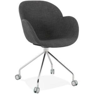 Chaise de bureau ´KEV´ en tissu gris foncé confortable sur roulettes