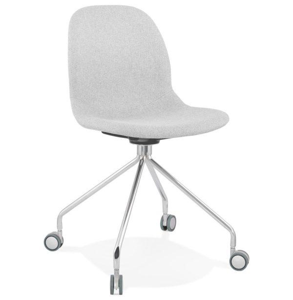 Chaise de bureau design ´GLIPS´ en tissu gris clair sur roulettes