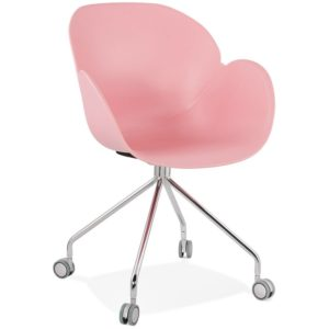 Chaise de bureau design ´JEFF´ rose sur roulettes