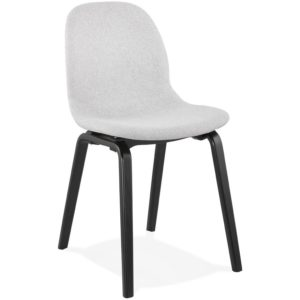 Chaise de salle à manger ´CELTIK´ en tissu gris clair et pieds en bois noir