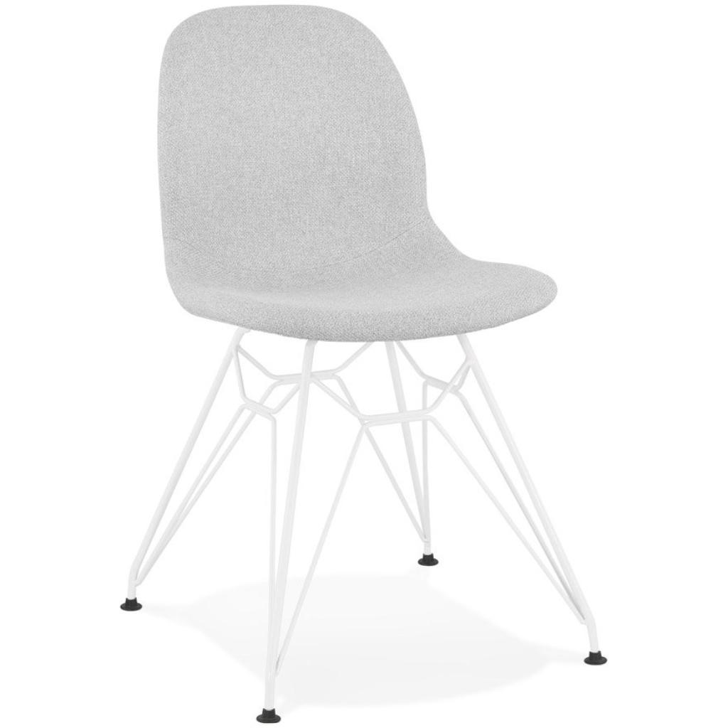 Chaise design ´DECLIK´ grise claire avec pieds en métal blanc