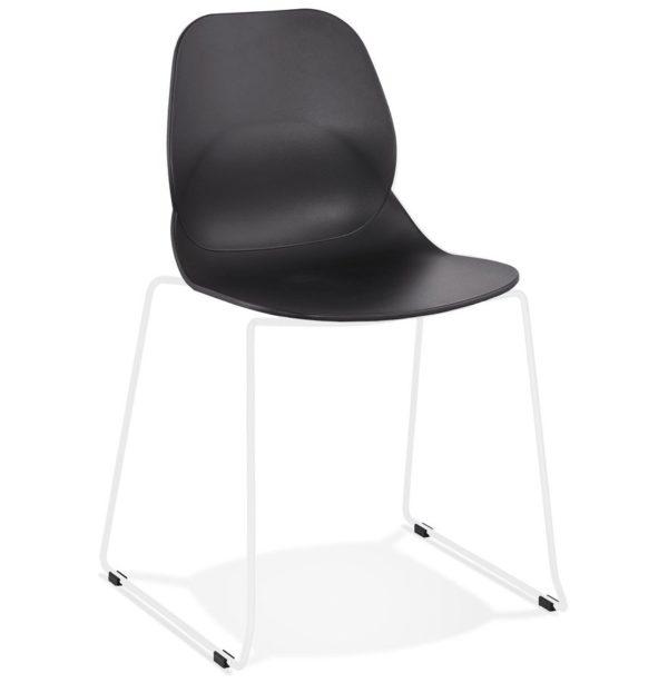 Chaise design ´NUMERIK´ noire avec pieds en métal blanc