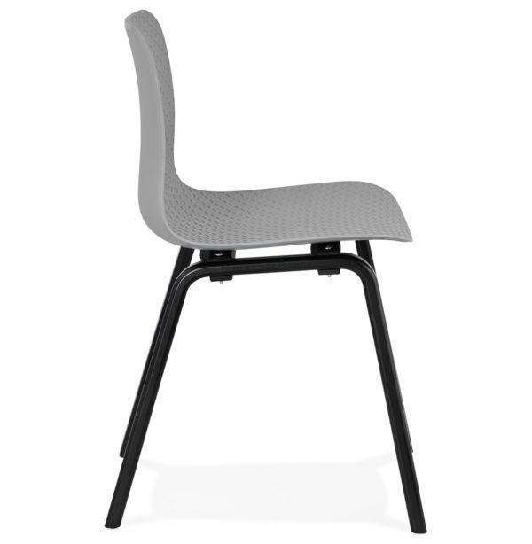 Chaise-design-´PACIFIK´-grise-avec-pieds-en-bois-noir-2
