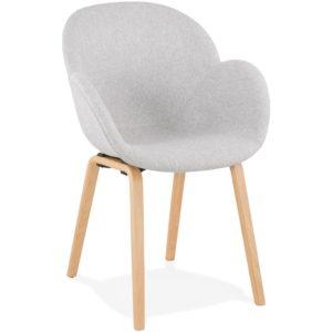 Chaise design avec accoudoirs ´SAMY´ en tissu gris clair style scandinave