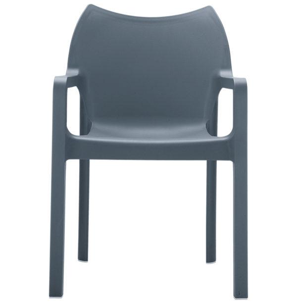 Chaise-design-de-terrasse-´VIVA´-grise-foncée-en-matière-plastique-2