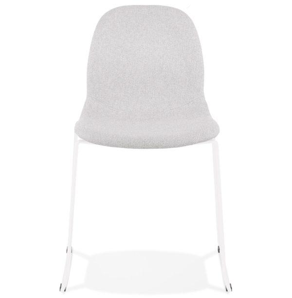 Chaise-design-empilable-´DISTRIKT´-en-tissu-gris-clair-avec-pieds-en-métal-blanc-1