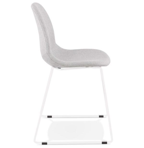 Chaise-design-empilable-´DISTRIKT´-en-tissu-gris-clair-avec-pieds-en-métal-blanc-2