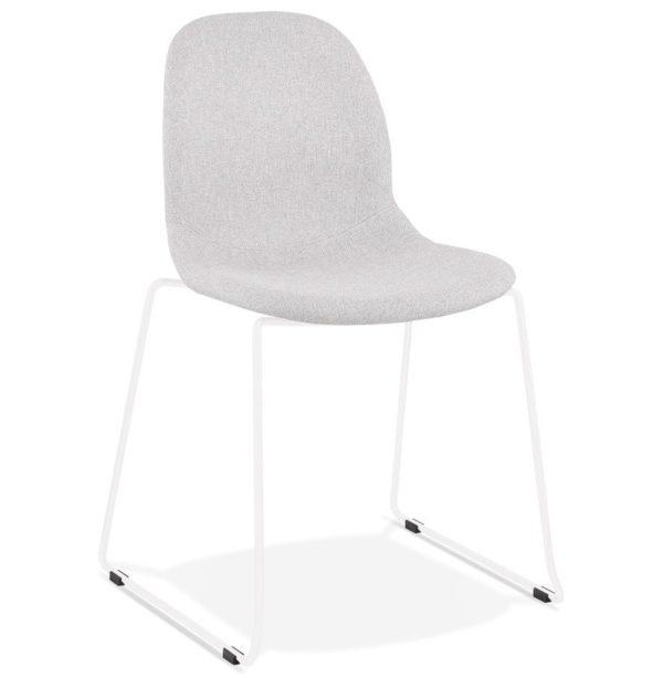 Chaise design empilable ´DISTRIKT´ en tissu gris clair avec pieds en métal blanc