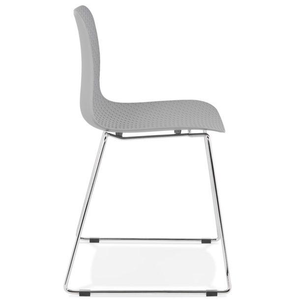 Chaise-moderne-´EXPO´-grise-avec-pieds-en-métal-chromé-2