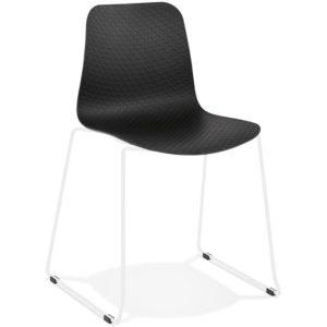 Chaise moderne ´EXPO´ noire avec pieds en métal blanc 300x300 - Décoration pas chère et moderne