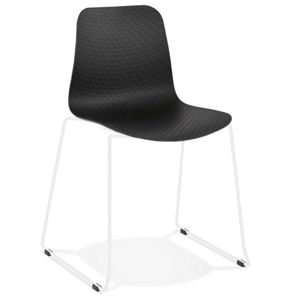 Chaise moderne ´EXPO´ noire avec pieds en métal blanc