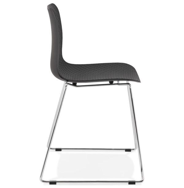 Chaise-moderne-´EXPO´-noire-avec-pieds-en-métal-chromé-2