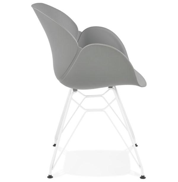 Chaise-moderne-´FIDJI´-grise-avec-pieds-en-métal-blanc-2