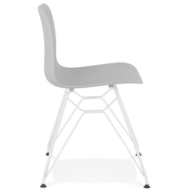 Chaise-moderne-´GAUDY´-grise-avec-pied-en-métal-blanc-2