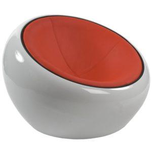 Fauteuil boule lounge ´ATMO´ pivotant blanc et rouge
