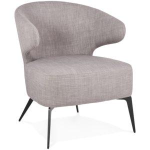 Fauteuil lounge design ´SOTO´ en tissu gris et pieds en métal noir