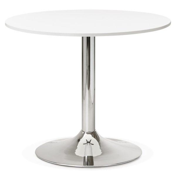 Petite table de bureau diner ronde saopolo blanche 90 cm addesign - Petite table ronde blanche ...