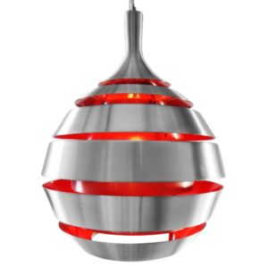 Suspension design ´COSMO´ aluminium brossé et intérieur rouge 300x300 - Décoration pas chère et moderne