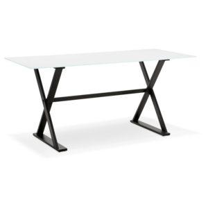 Table à diner / bureau design avec pieds en croix ´HAVANA´ en verre blanc - 160x80 cm