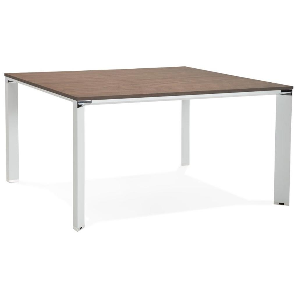 Table de réunion / bureau bench ´XLINE SQUARE´ en bois finition Noyer et métal blanc – 140×140 cm