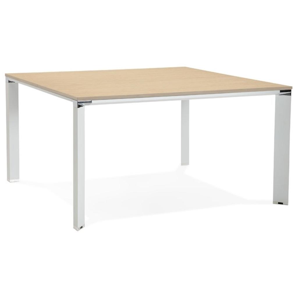 Table de réunion / bureau bench ´XLINE SQUARE´ en bois finition naturelle et métal blanc – 140×140 cm