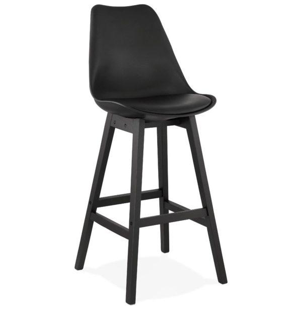 Tabouret de bar ´CAMILA´ noir avec pied en bois noir