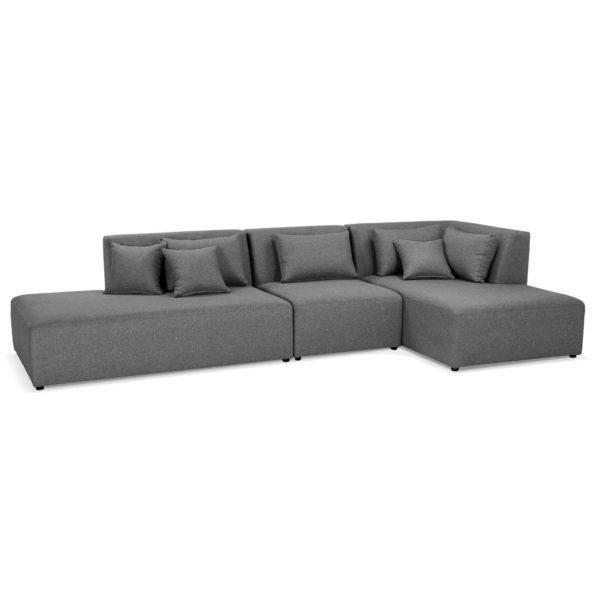 Canapé modulable design ´BELAGIO XL´ gris foncé (angle à droite)