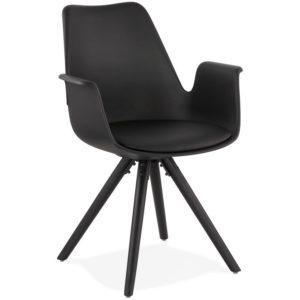Chaise avec accoudoirs ´ZALIK´ noire avec pieds en bois noir
