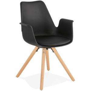 Chaise avec accoudoirs ´ZALIK´ noire style scandinave