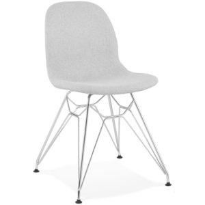 Chaise design ´DECLIK´ grise claire avec pieds en métal chromé