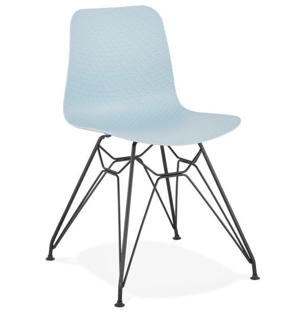 Chaise design ´GAUDY´ bleue style industriel avec pied en métal noir