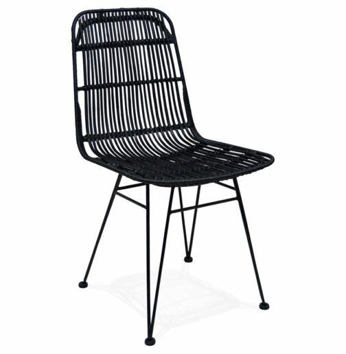 Chaise design ´PANAMA´ en rotin noir