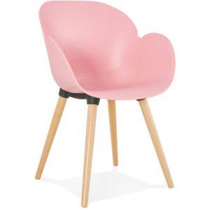 Chaise design scandinave ´PICATA´ rose avec pieds en bois