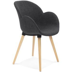 Chaise design scandinave ´TAPIOCA´ en tissu gris foncé
