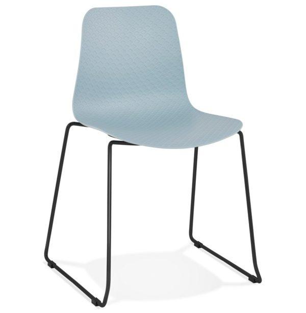Chaise moderne ´EXPO´ bleue avec pieds en métal noir