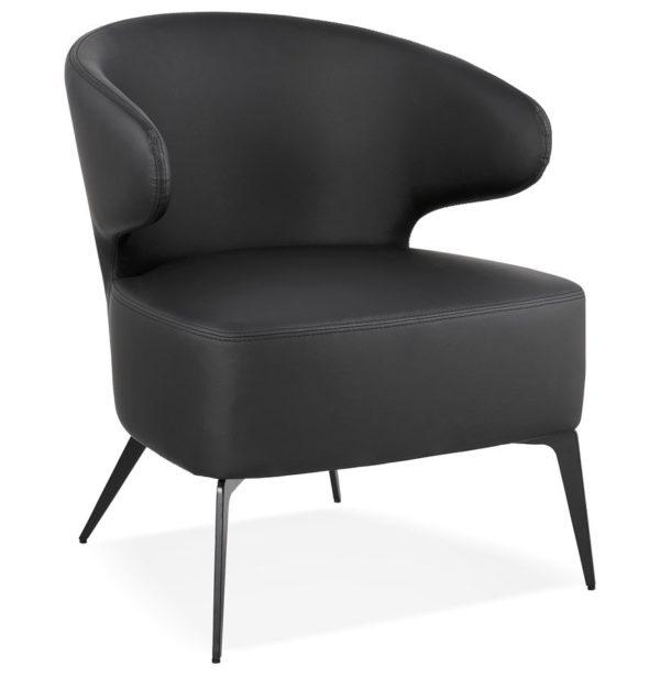 Fauteuil lounge design ´WAGYU´ noir et pieds en métal noir