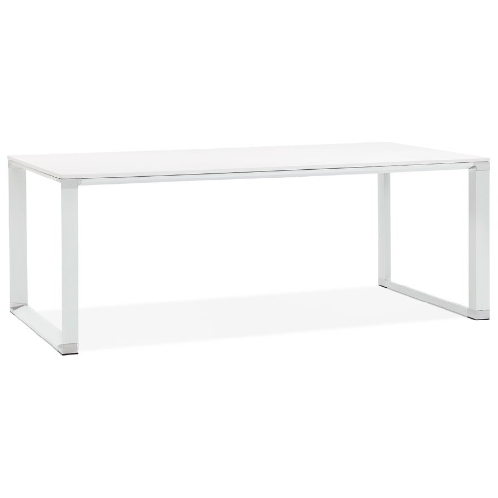 Grand bureau de direction droit ´XLINE´ en bois blanc – 200×100 cm