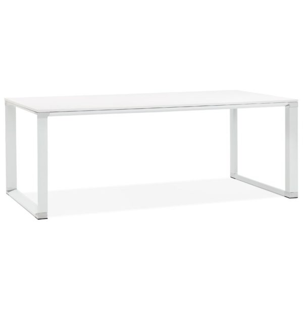Grand bureau de direction droit ´XLINE´ en bois blanc - 200x100 cm