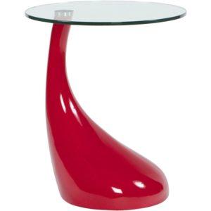 Table d´appoint ´KOMA´ design en verre et pied rouge